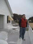My brother Gerry on the Southfork balcony. Our guide sweetly explained that one  famous scene involved J.R. in this very spot with a broken railing and a dead Kristin's body floating in the pool below! Yes, Kristin is the person who shot J.R.