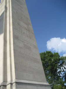 Close-up of Harrison memorial