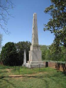 James Madison's gravesite, Montpelier, 2009. Dolley's marker is the smaller obelisk on the left.
