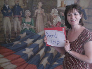 We took this picture in front of a painting of flag maker Mary Pickersgill
