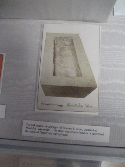 This is Grant's red granite sarcophagus. The display says the stone was chosen because it resembled Napoleon's.