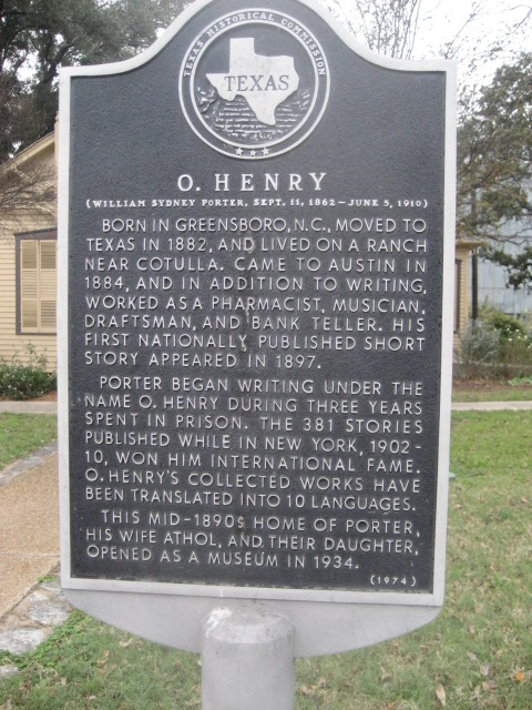 Sign outside the O. Henry museum