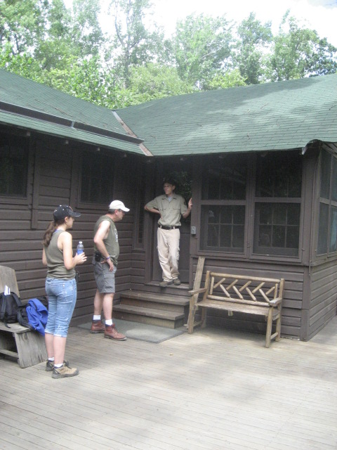 Park volunteer Jonathan prepares to give a tour of the Brown House