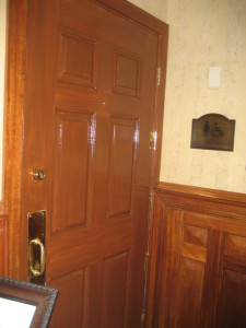 """The door to the """"haunted"""" ladies room at the Driskill"""