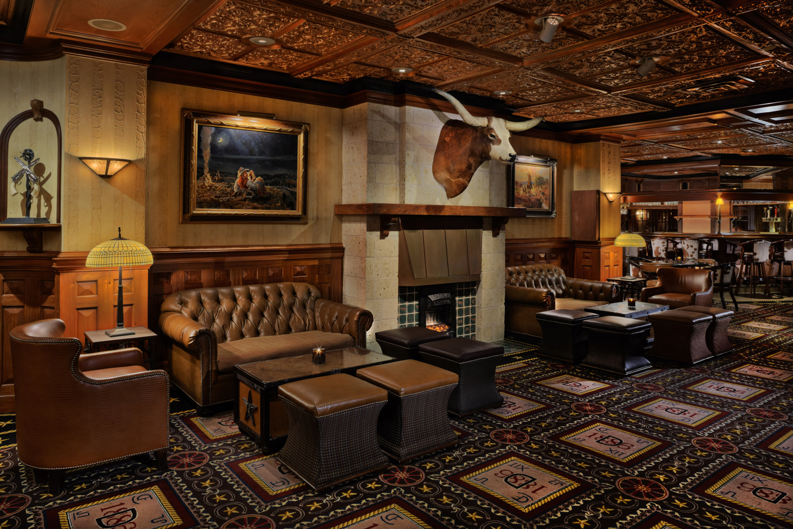 Of course the Driskill bar has a Texas longhorn. Photo courtesy of Driskill hotel