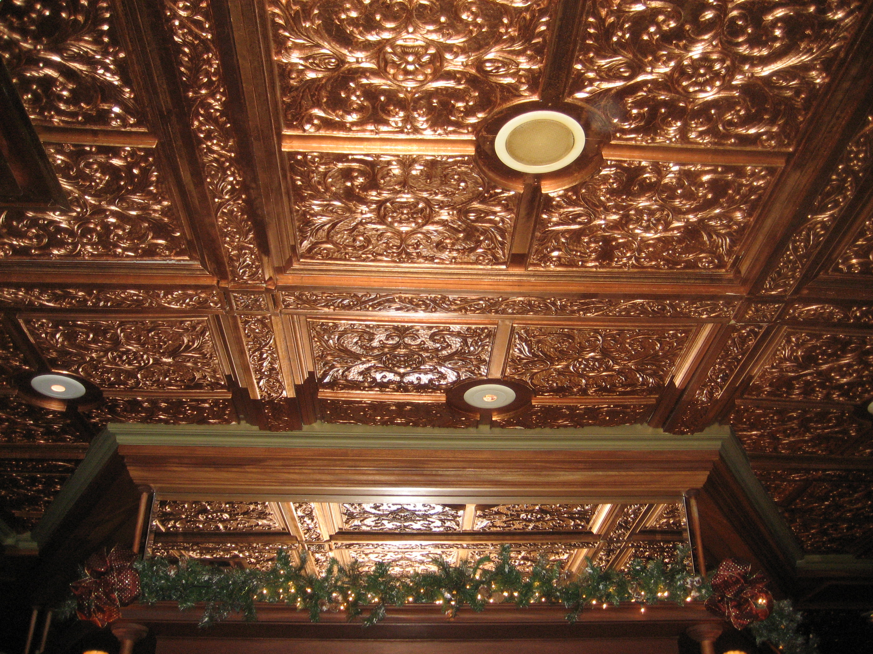 Copper ceiling in the bar of the Driskill