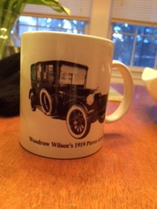 Coffee cup featuring Woodrow Wilson's Pierce Arrow