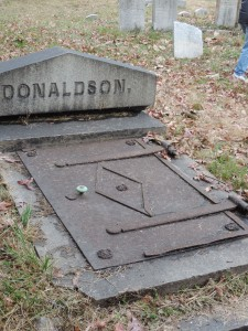 This grave has a door with a knob. Our guide said the doors often led to staircases taking you to underground vaults.