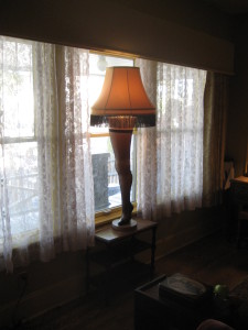 The famous leg lamp in the front window of the Parkers' house in A Christmas Story