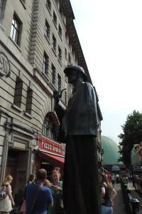 Super-tall Sherlock statue, Baker Street tube station, London