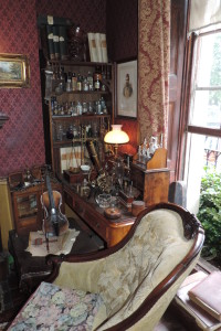 From the drawing room of Sherlock Holmes. The room features his violin and lots of scientific experiments