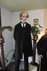 "Here's Professor Moriarty at the Sherlock Holmes museum. I would describe all these figures as ""larger than life."""