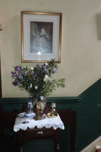 Here's the table where you can leave your calling card for Mr. Holmes. Notice there's another portrait of Queen Victoria