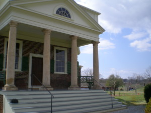 The front porch at Poplar Forest