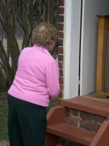 Aunt Viola takes a peek at the privy