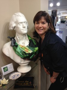 Thomas Jefferson is showing off a lovely scarf in the Poplar Forest gift shopt