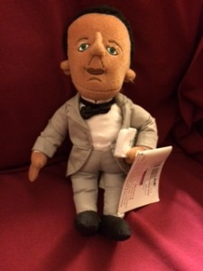 Booker T. Washington doll purchased in the gift shop. The tag has lots of information about Booker T. Washington's life