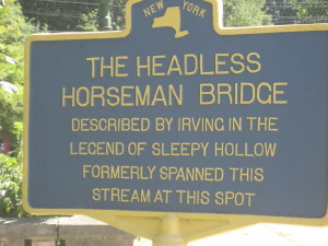 Sign describing the original Headless Horseman bridge
