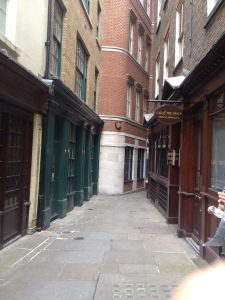 Narrow streets of London on our Dickens tour - just like out of a novel!