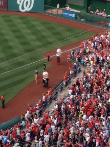 Taft and Jefferson mascots at the Nats game