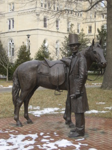 Statue of Lincoln and his horse, Old Bob at Lincoln's Cottage