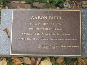Grave marker for Aaron Burr (Jr), Princeton, New Jersey
