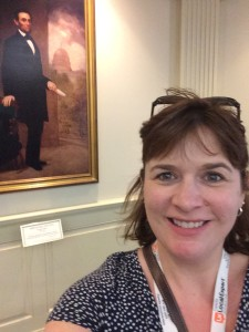 A selfie with Abe at the Hall of Presidents