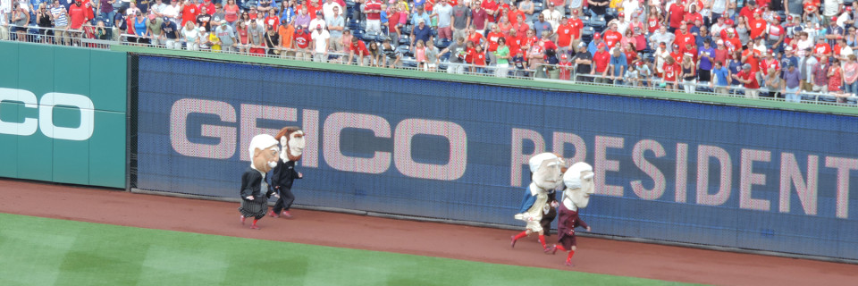 And they're off. The presidents race at Nationals Park (2014).