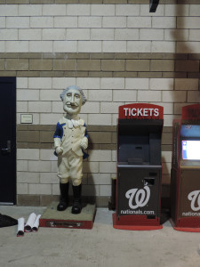 Look what we found! A statue of the George Washington mascot.