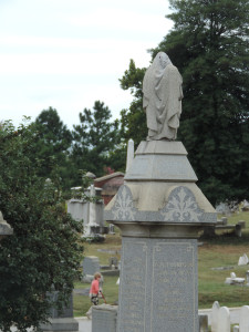 Hooded figure at Congressional Cemetery