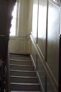 Look at the slanted stairs in the Ben Franklin house