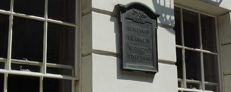 Sign on the front of the Ben Franklin House, 36 Craven Street, London