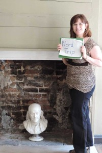 The staff of the Ben Franklin House happily helped with a picture with the Nerd Trips sign