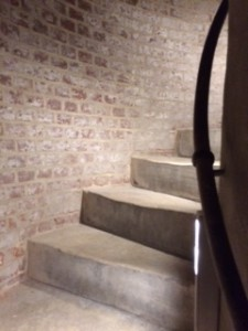 The stairs are a very tight spiral