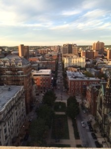 A view of Mt. Vernon Square from atop the Washington Monument