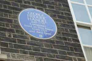 Handel House plaque, London